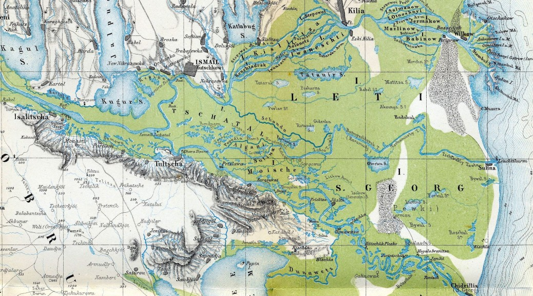 Immense delta du Danube sur une carte de 1867... (source wikipedia)