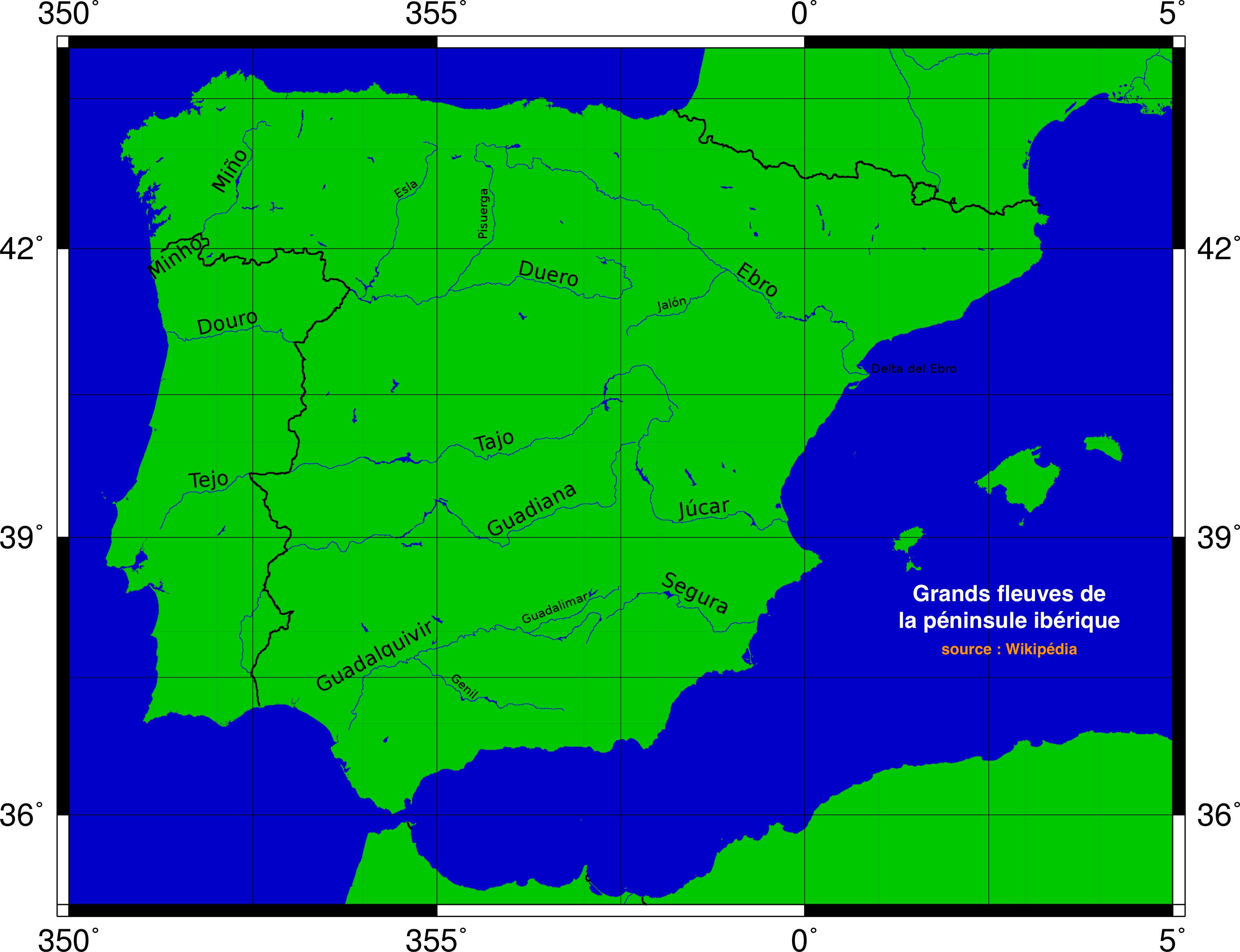 4 grands fleuves de la péninsule ibériques sont internationaux. Le Miño reste loin de la ligne A/M.