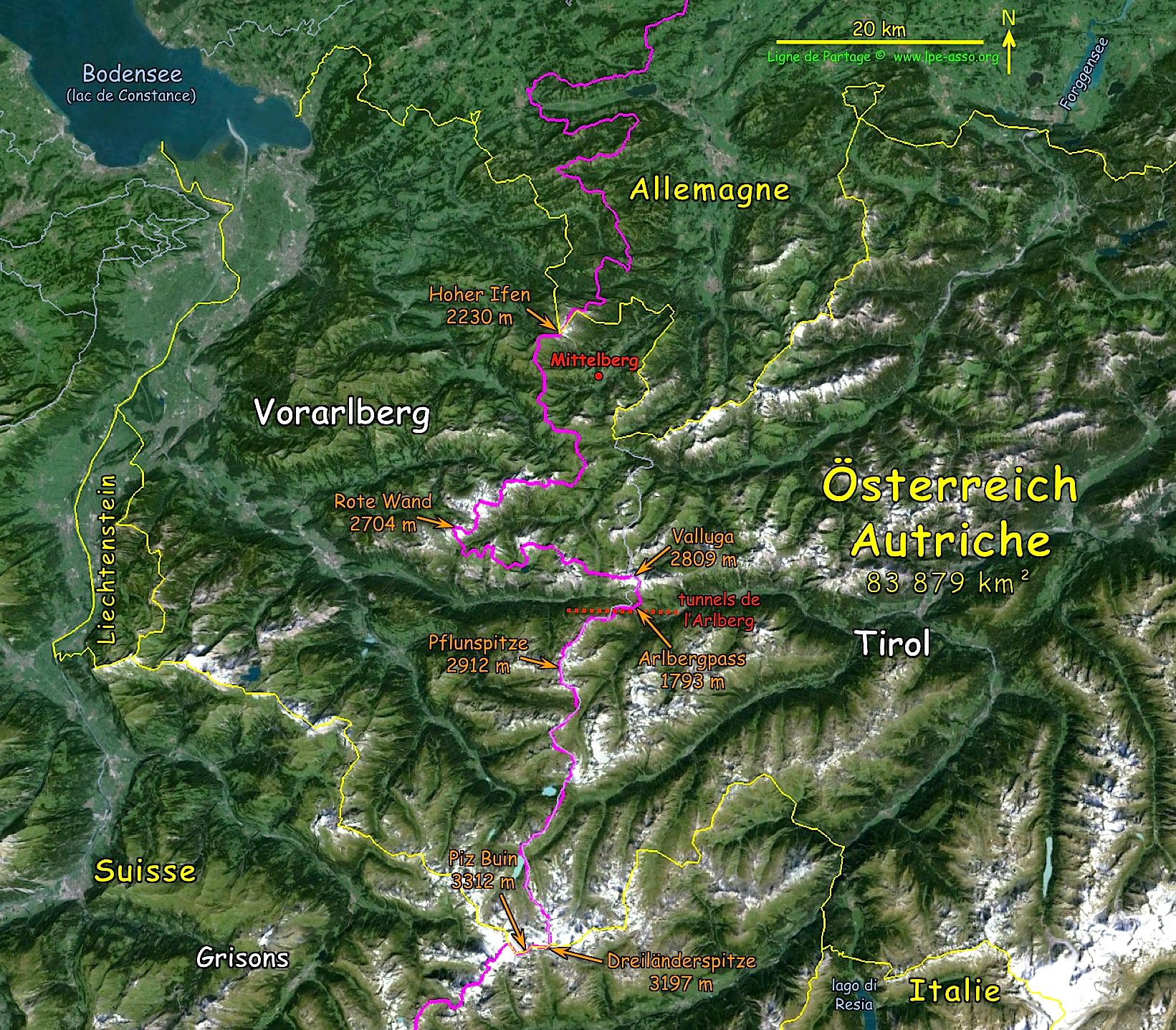 Carte ligne autriche ouest