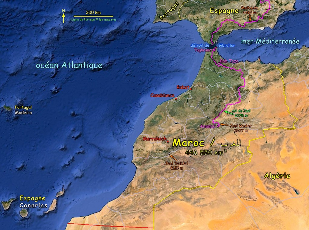 Carte ligne maroc ensemble