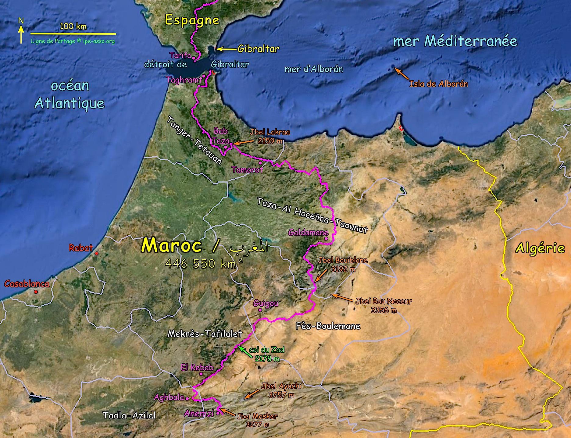 Carte ligne maroc nord