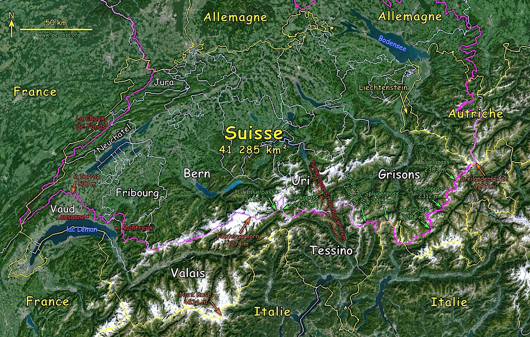 Carte ligne suisse