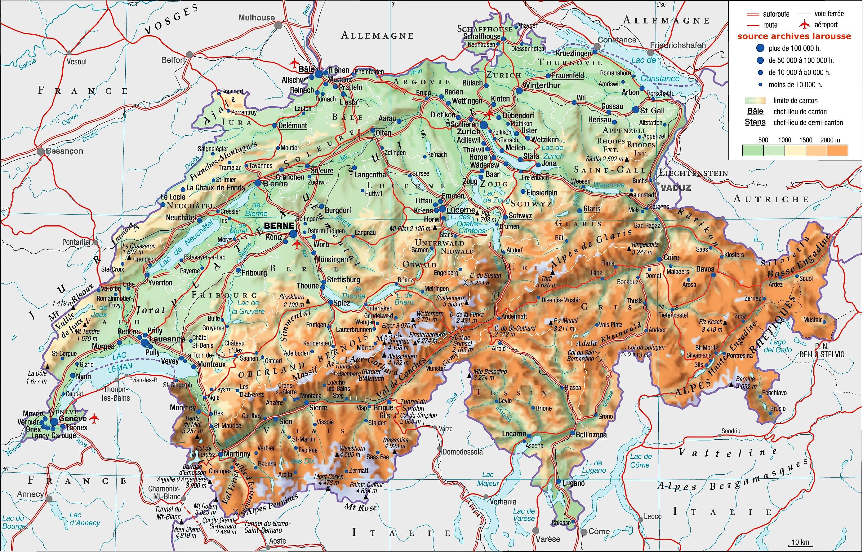 Carte suisse larousse