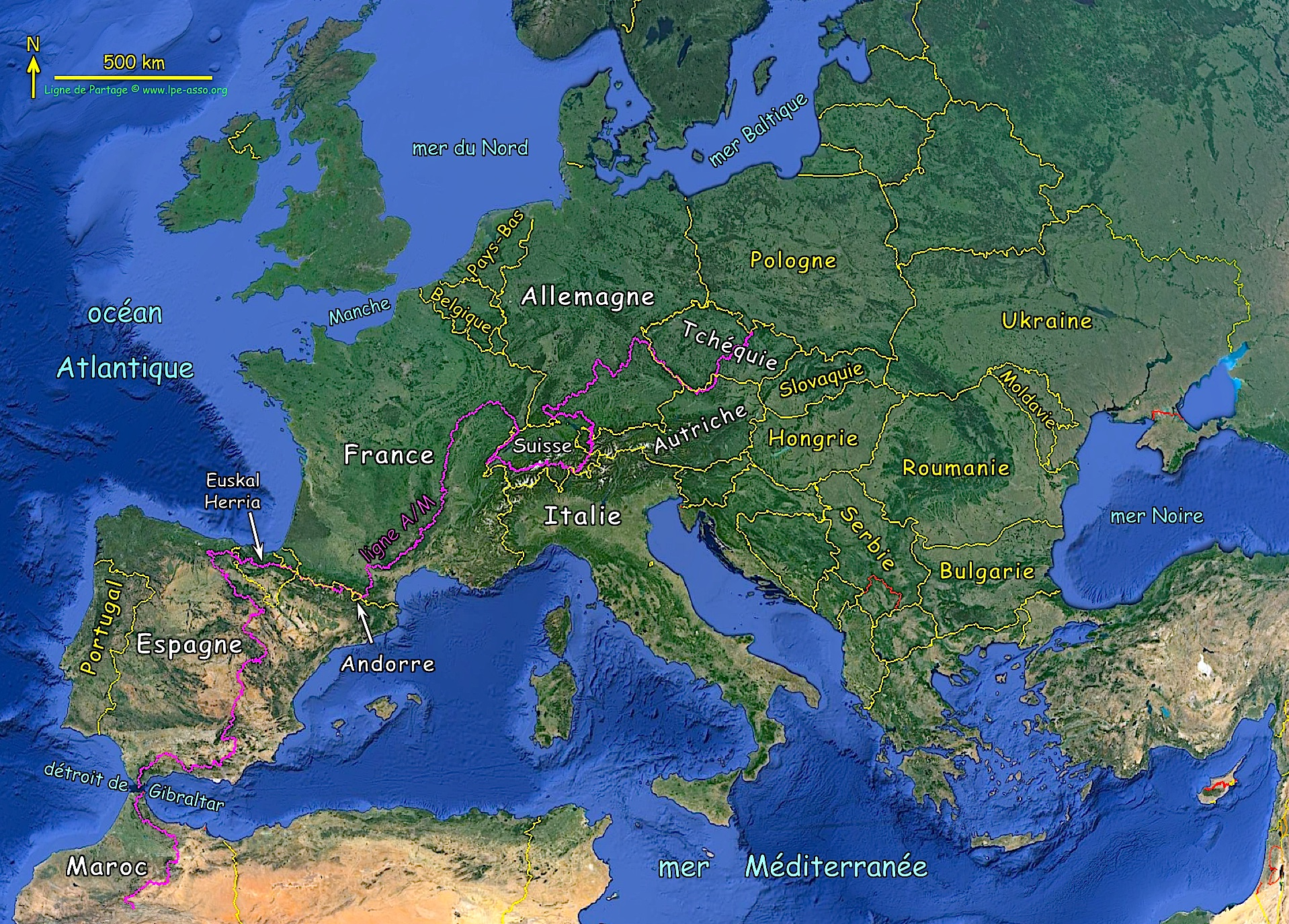 Les pays de la ligne