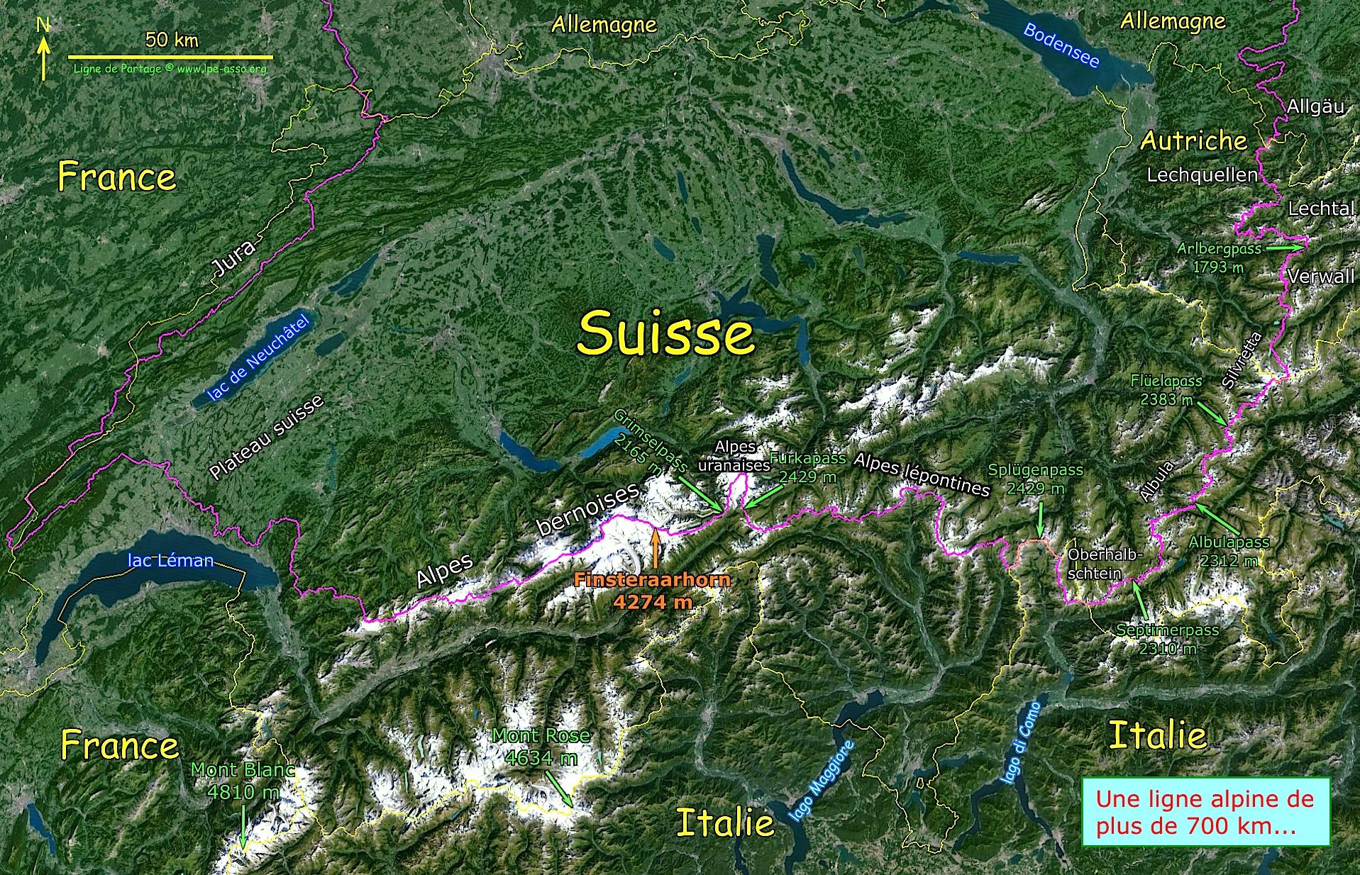 Carte des massifs des alpes