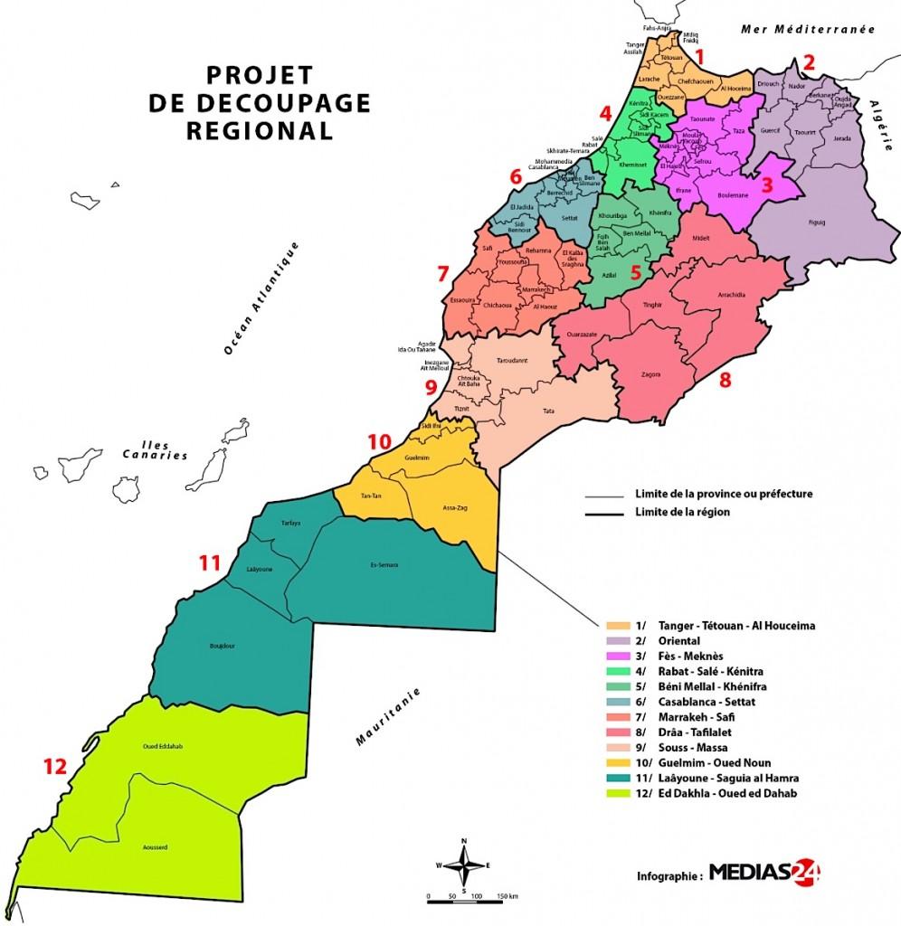 Carte regions maroc