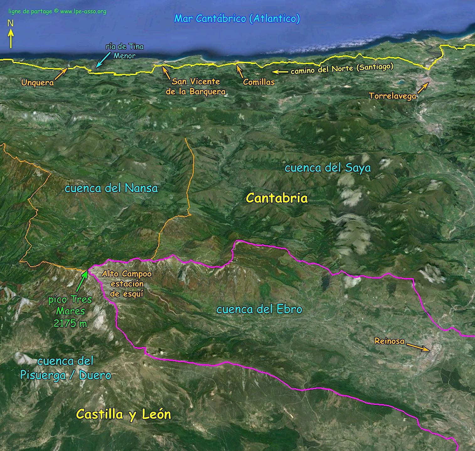 Le pico Tres Mares, bel exemple de toponymie inspirée par la ligne A/M