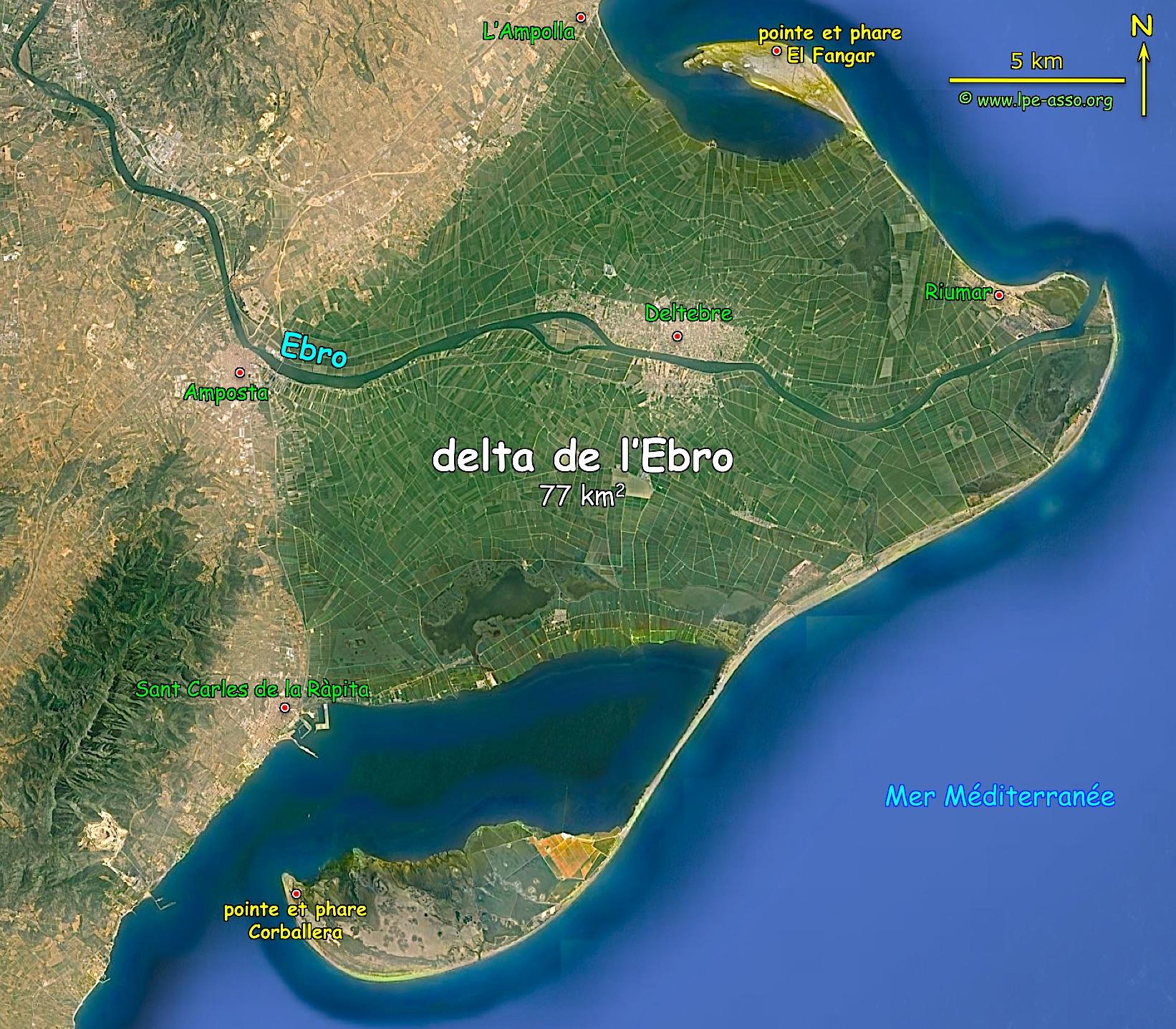 Carte Espagne Delta De Lebre.Rio Ebro Ligne De Partage
