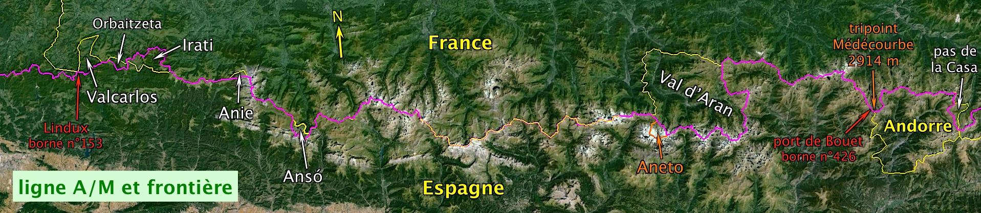 Carte pyrénées ligne et frontière