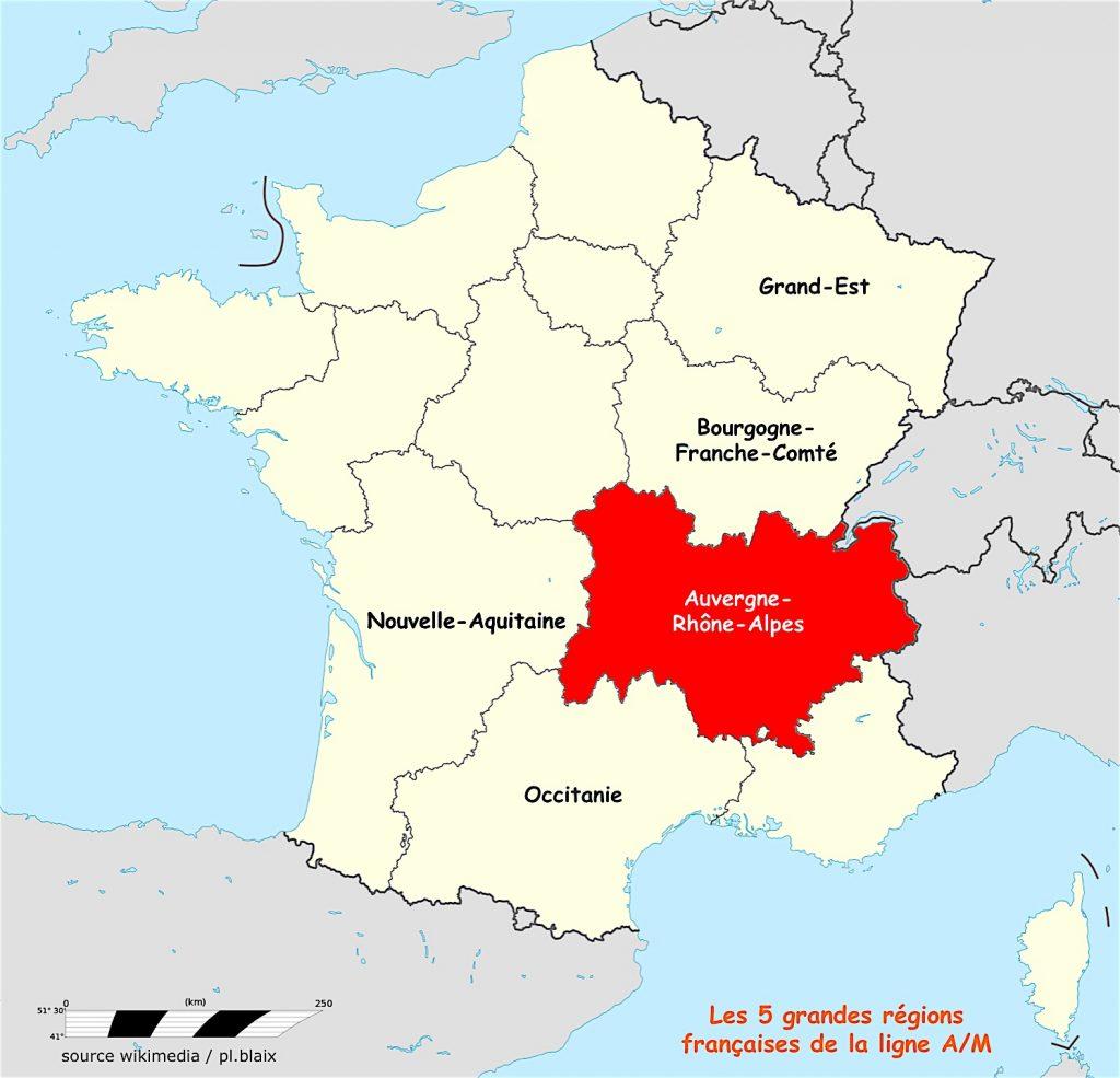 Carte 5 régions et auvergne rhone alpes