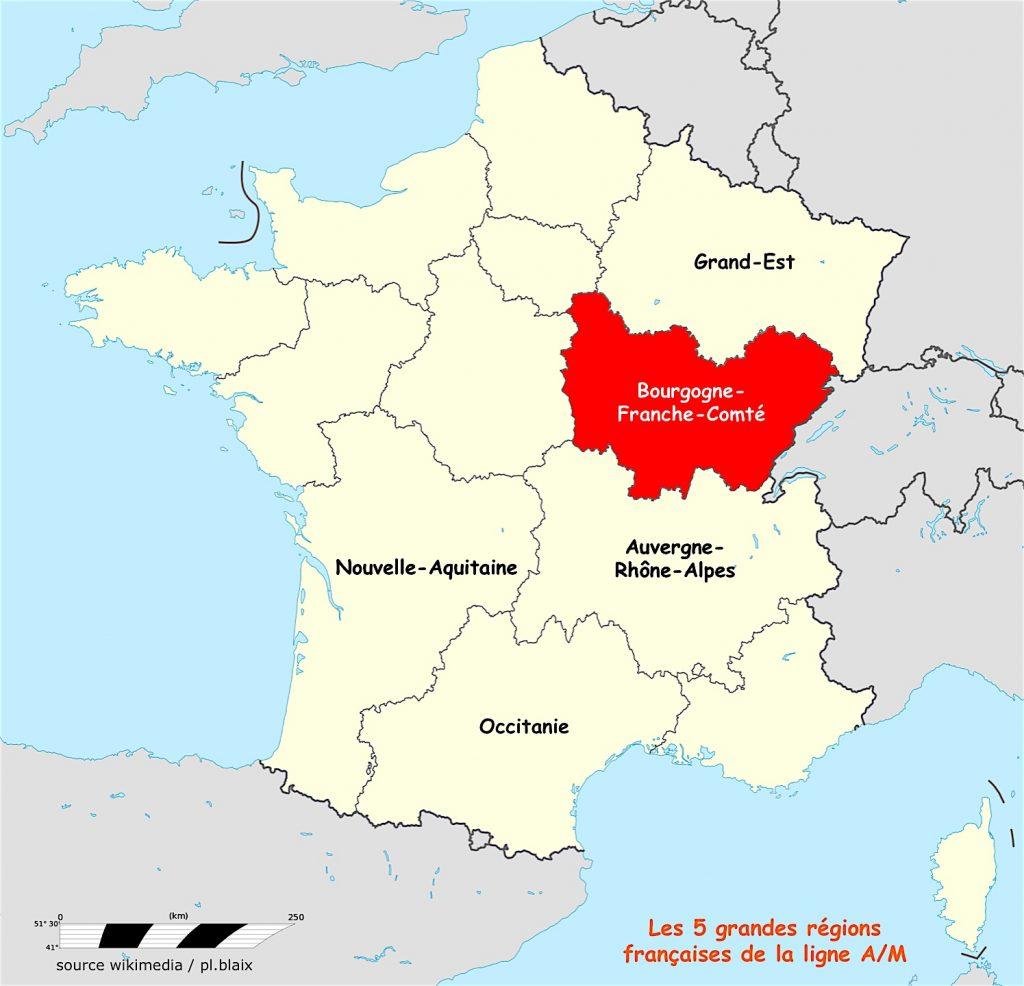 Carte 5 régions et bourgogne fc