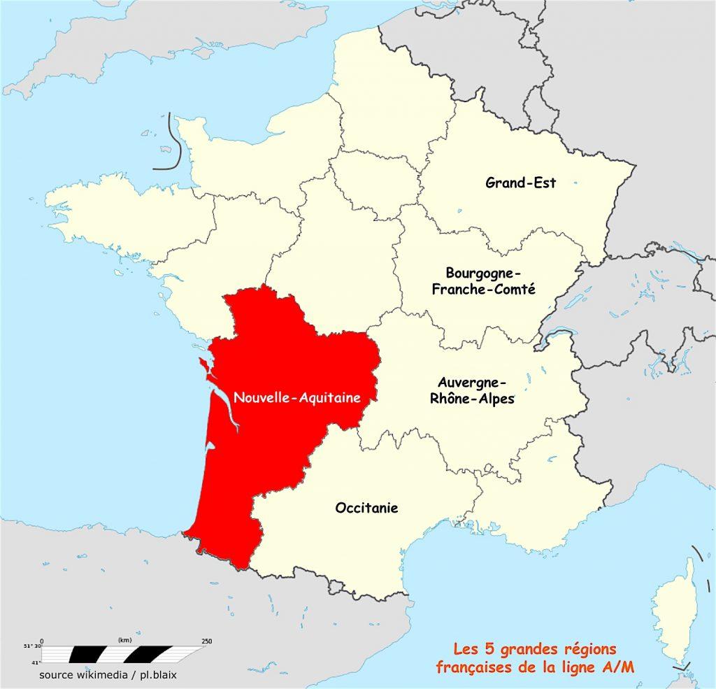 Carte 5 régions et nouvelle aquitaine
