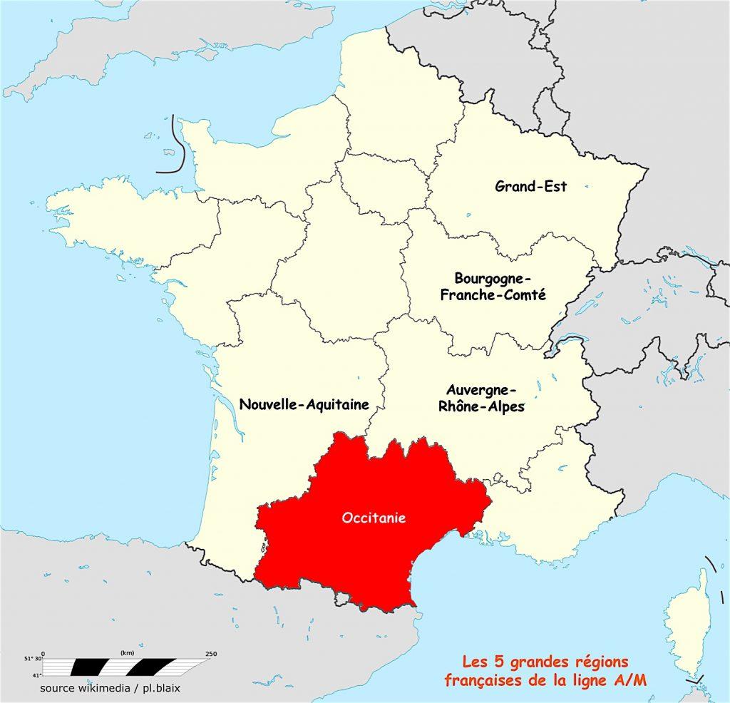 Carte 5 régions et occitanie