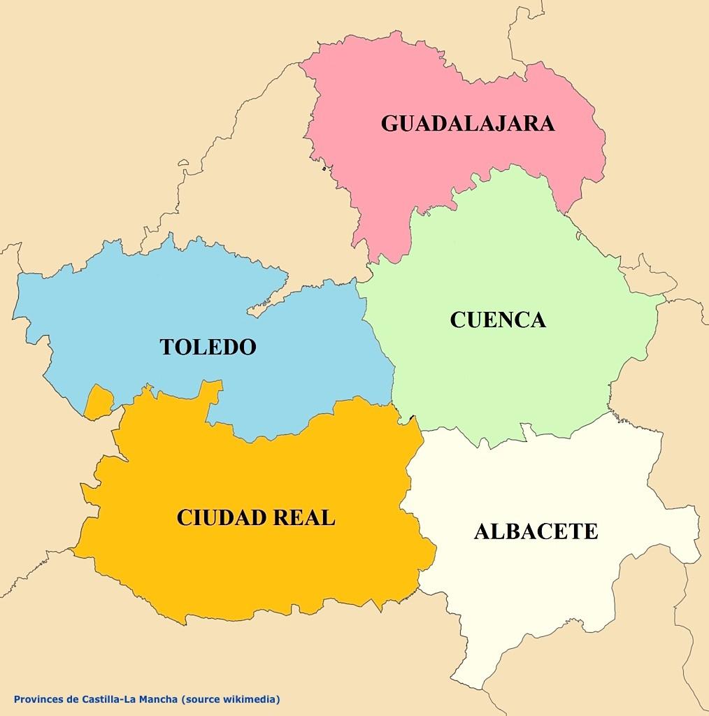 Carte provinces castilla la mancha