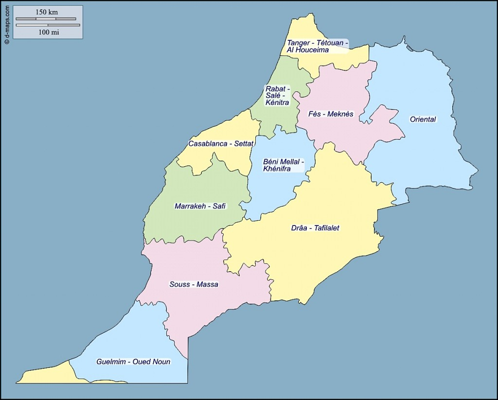 Carte régions maroc nord