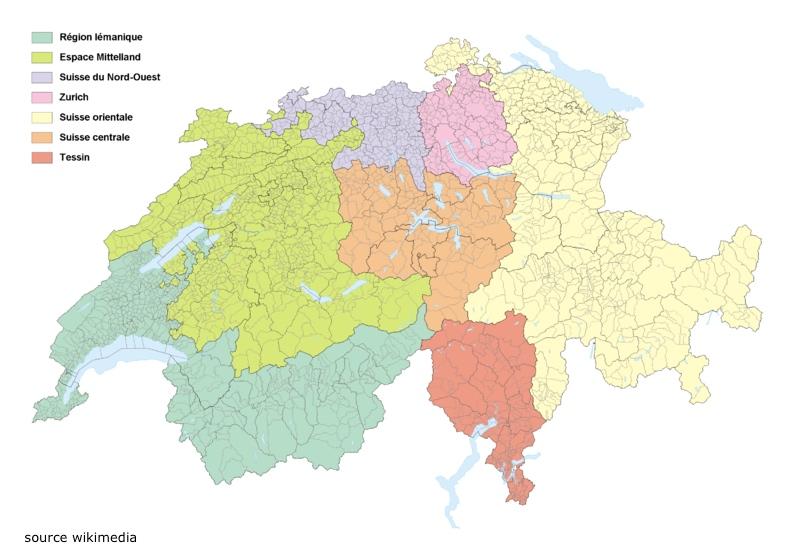 Carte régions suisse