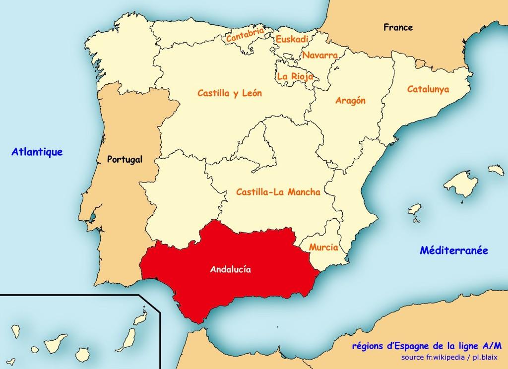 Carte regions andalucia