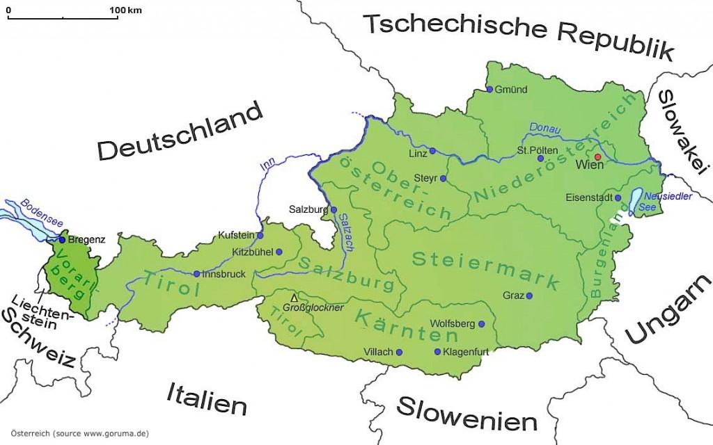 Carte regions autriche