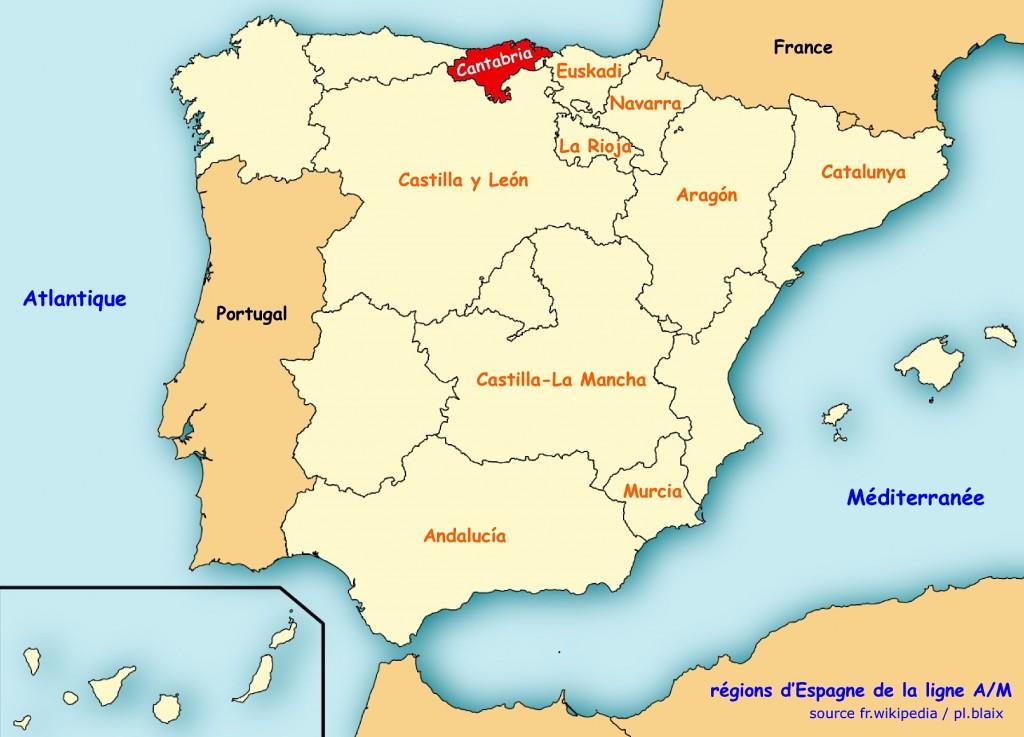 Carte regions cantabria
