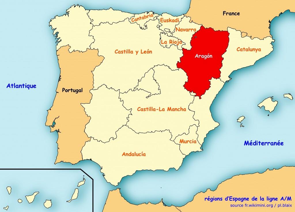 Carte regions espagne aragon