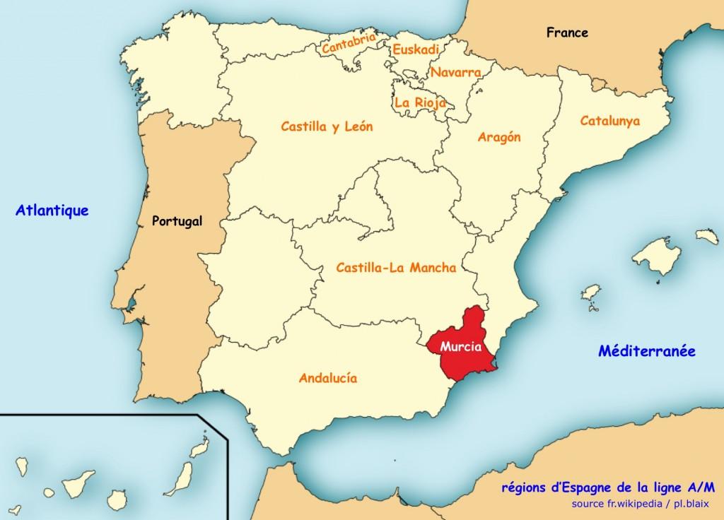 Carte regions murcia