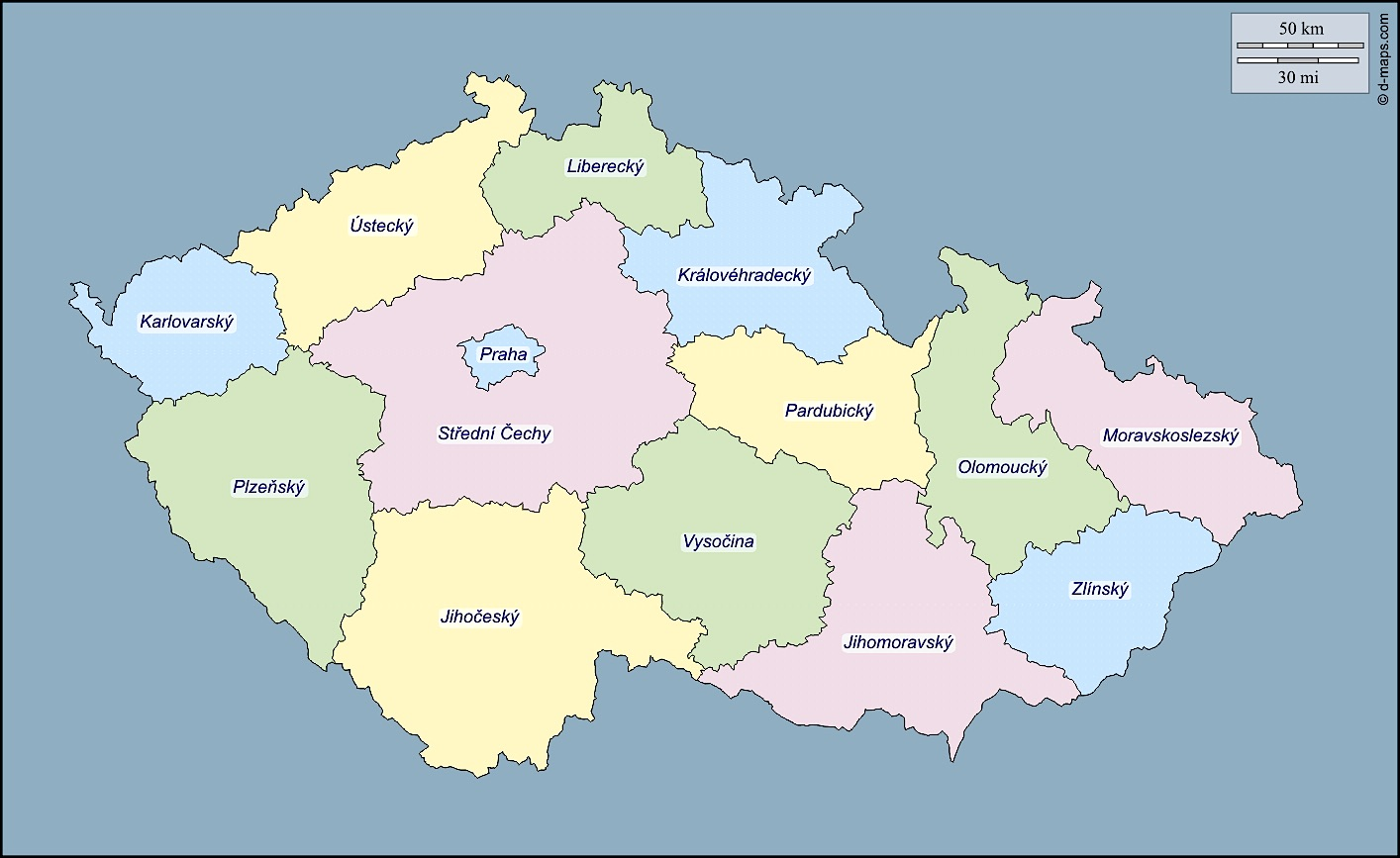 Carte regions tchequie