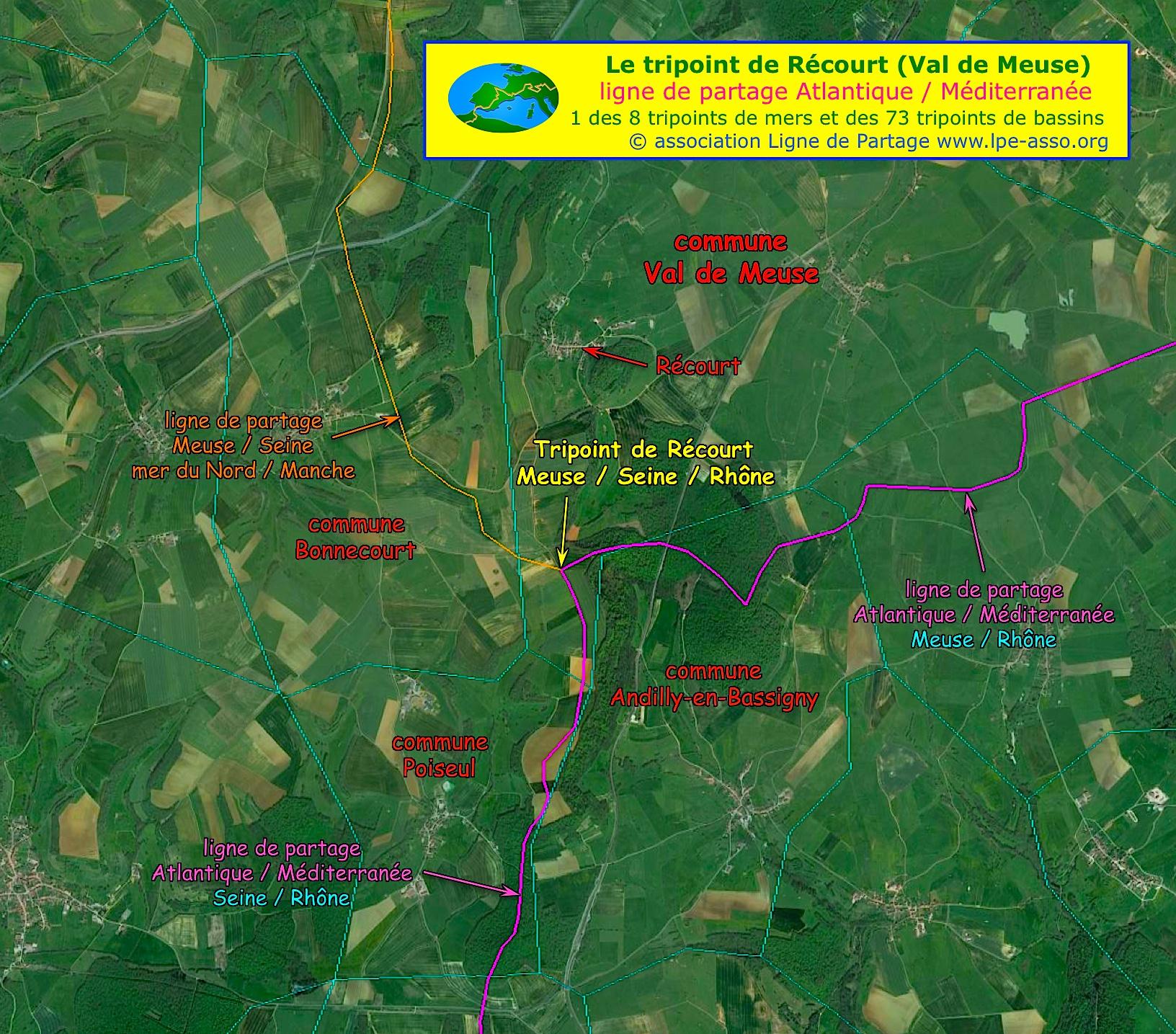 Carte tripoint de Récourt