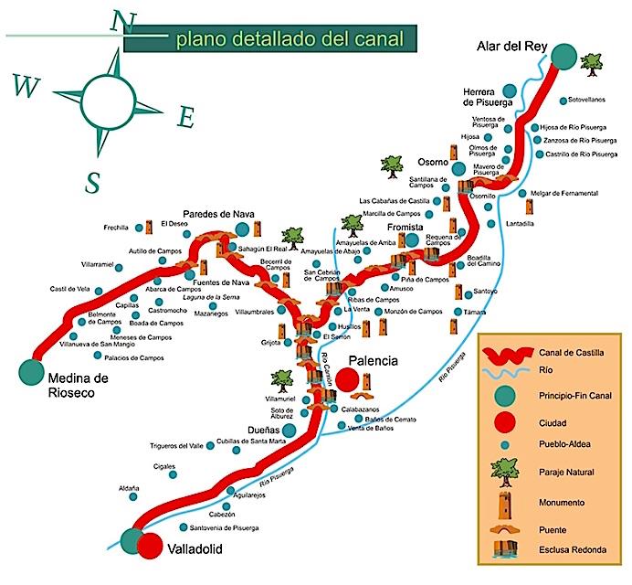 Le canal de Castilla, 207 km de longueur totale, 43 écluses... Les branches sud et nord (129 km) ont été suivies.