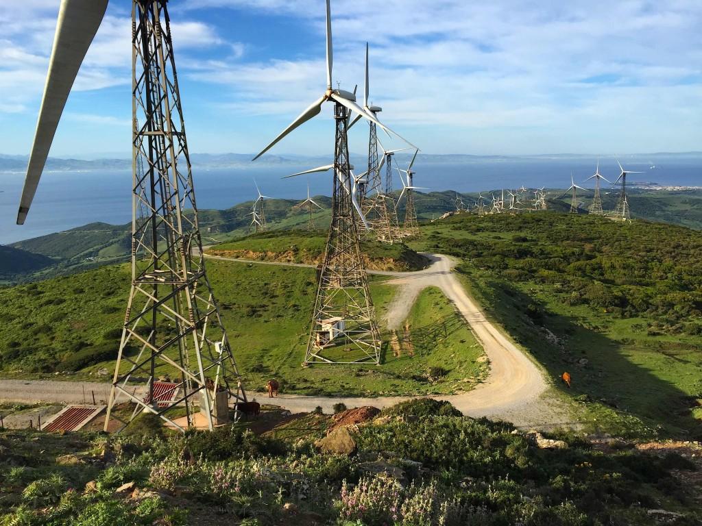 La ligne a/m sous les éoliennes. Au loin Tarifa, le détroit de Gibraltar et la côte marocaine...