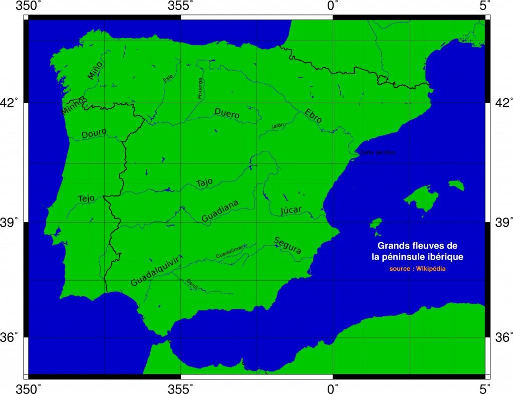 Carte grands fleuves ibériques