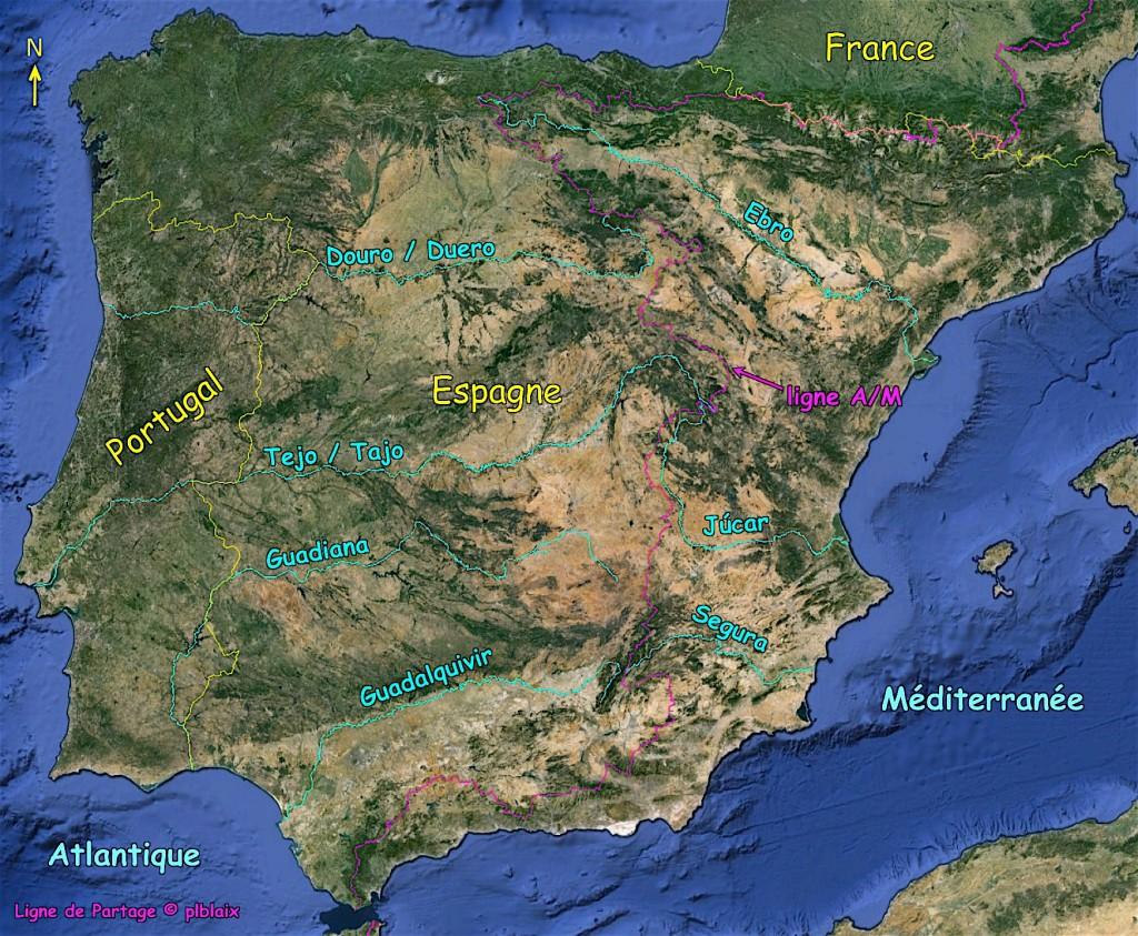 Photo carte fleuves espagne