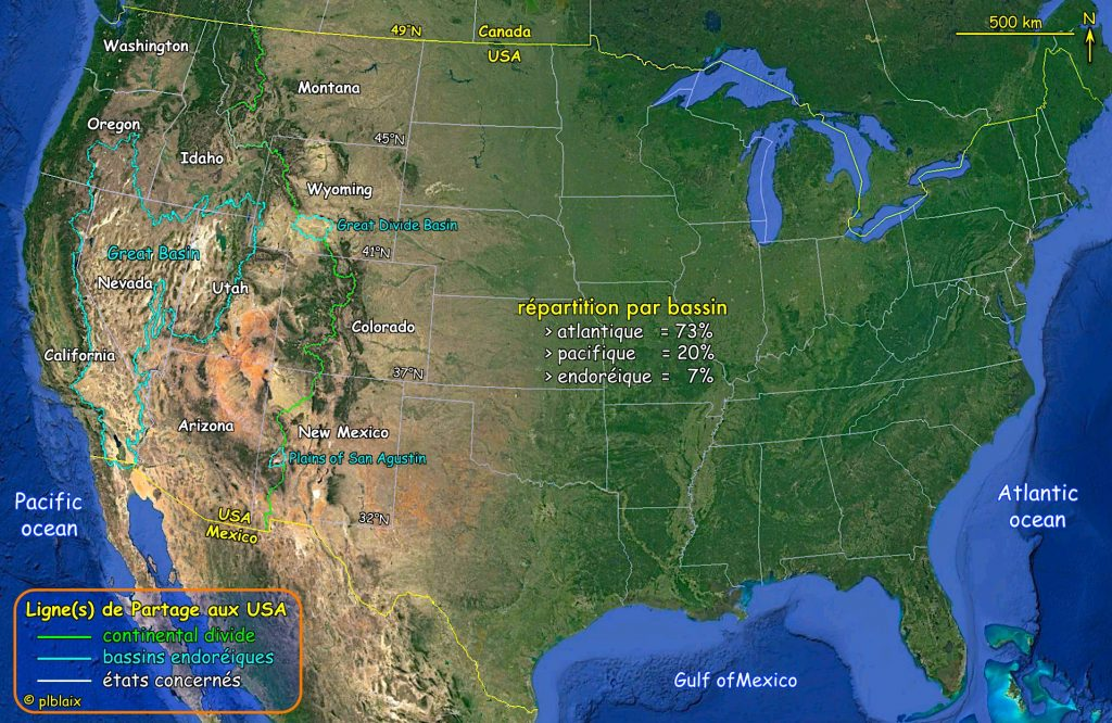 Carte bassins des usa