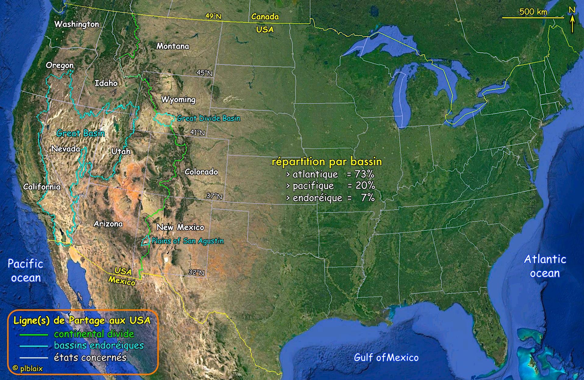 Continental Divide et bassins des USA