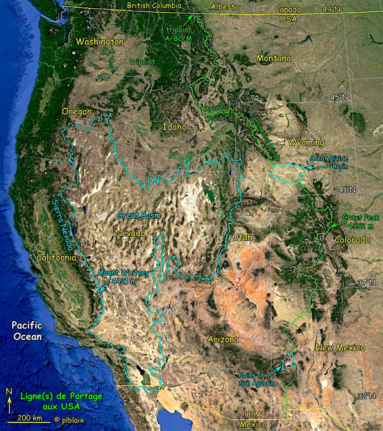 Continental Divide et bassins endoréiques des USA