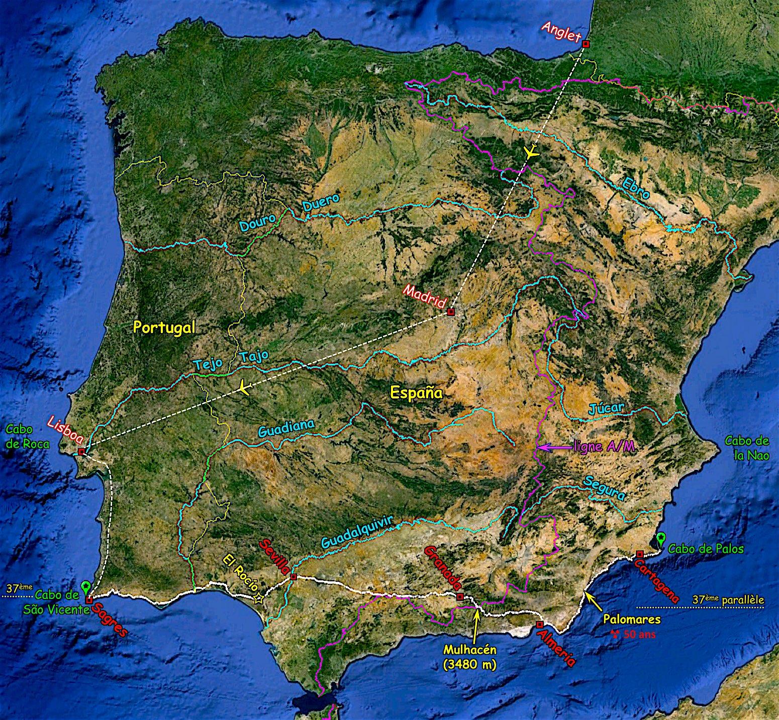 Anglet > Lisboa > Sagres > Sevilla > Granada > Almería > Palomares > Cartagena