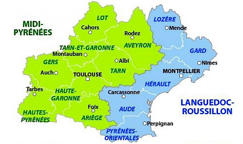 Carte languedoc midi pyrenees